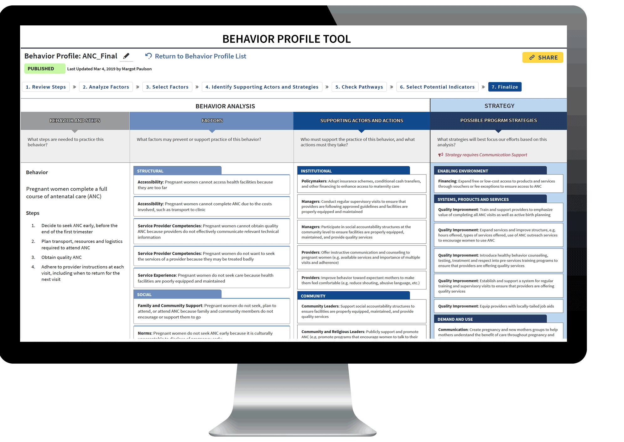 Behavior Profile Tool